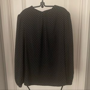 Who What Wear Black and White Polka Dots Blouse
